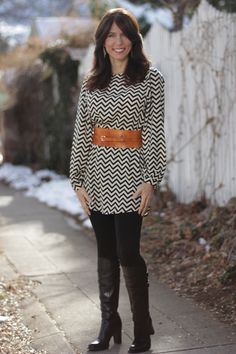 Chevron dress #madeinUSA outfit with tall boots