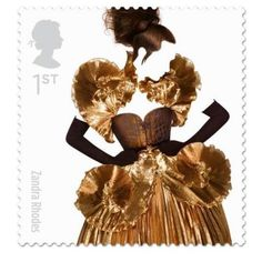British 1st class stamp - pictures of  British designers - Brit couture in honour of Queen Elizabeth's golden jubilee 2012