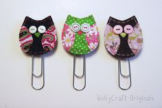 owl paperclip, owl bookmark, fabric owls, fabric bookmark, paperclip bookmark, owl clip