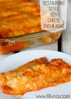 Restaurant Style Red Cheese Enchiladas - my favorite!! Recipe on { lilluna.com } #enchiladas
