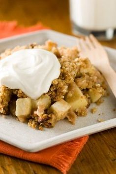 "Clean Eating ""Baked"" Apple Crisp...omg, this is quick to make and delicious. BTW, I eliminate the brown sugar - to me, it doesn't need it."