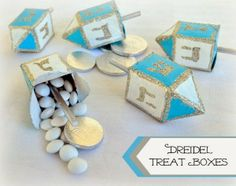 Upcycling: Dreidel Treat Boxes for the 8 Nights of Hanukkah.