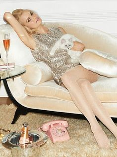 spade holiday, fashion, cat, chaise lounges, champagne