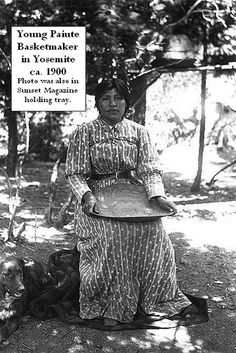 Yosemite Native American Indian - Paiute girl holding tray ca. 1900 in Yosemite Valley by Yosemite Native American, via Flickr