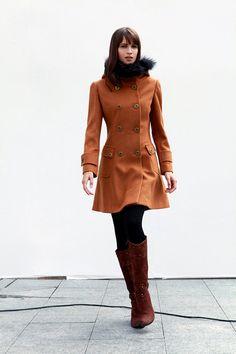Camel Cashmere Hooded Coat