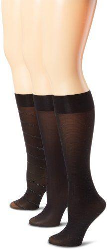 Save $4.00 on Ellen Tracy Women's 3 Pack Diagonal Lurex Trouser Socks; only $12.00