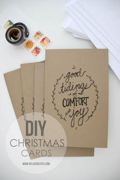 Adorable way to do a quick Christmas card... also fun for labels/gift wrap. #printable christmas cards, christma card, card printabl, card diy, diy christma