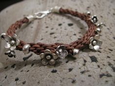 Brown Leather Kumihimo Charm Bracelet with Sterling Silver Flowers