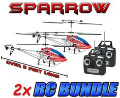 Metal Sparrow 3.5CH RC Helicopter 2-Pack Bundle (Over 2 Feet Long)