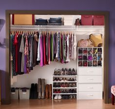 Reach-in closet using ClosetMaid wire shelving and and DIY Stackable Orgainzers in White.