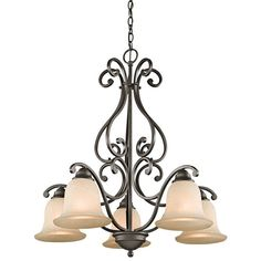 """Camerena Single-Tier  Chandelier with 5 Lights - 72"""" Chain Included - 27 Inches Wide"""