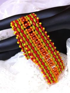 Bead Embroidered Bracelet Cuff  SPRING seed beaded red and green superduo beads Mothers day Gift seed bead jewelry EBW team