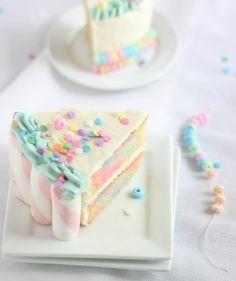 Marshmallow-Candy Swirl Cake