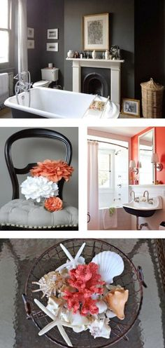 Coral and grey-I love the gray bathroom at top