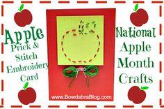 National Apple Month Crafts Bowdabra Blog- fun Apple Prick & Stitch Embroidery Card