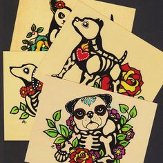 Day of the Dead POSTCARDS Dogs Skeleton Pets - Assorted Set of 4 - Donation to Austin Pets Alive