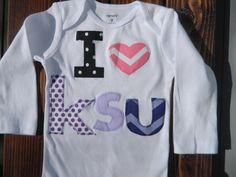 Kansas State Baby Outfit KSU Wildcats Onesie by CarasPlayground, $20.00