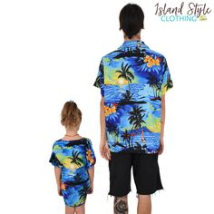 Blue Sunset Tropical Fun - Father & Daughter Matching Party Clothing. Mens Hawaiian Shirt & Girls Beach Cover up. #sunsetparty #matchymatchy #hawaiianshirt #girlsbeachcoverup #partyshirt #fatherdaughtermatching #luau #luauparty #beachparty #fancydress #vacay #hawaiianmatching #familymatching #cruise #cruisewear #poncho #caftan #kaftan #coverup #beachwear