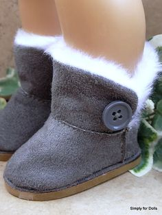 "Gray Fur Trimmed Ewe Buttoned Boots Shoes for 18"" Girl Doll from American Seller 