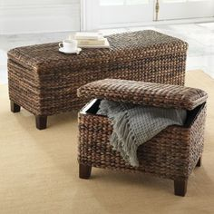 """""""Solano"""" Storage Bench and Ottoman by Grandin Road: Warm colored seagrass in a herringbone weave with espresso stained feet. Interior storage space is smooth finished wood. (ottoman is 24 l x 18 w x 18 h; bench is 48 l x 18 w x 18h)"""