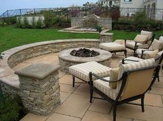 Firepit with retaining wall