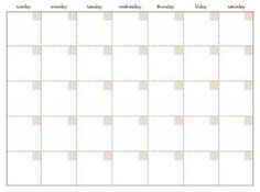 Simple Blank Calendar Template – Printable Editable Blank