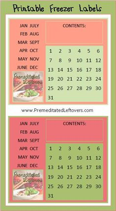 Free Printable Freezer Labels and a Freezer Inventory List