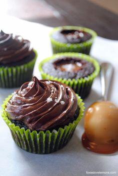 Chocolate-Salted Caramel Cupcakes #cupcakes #cupcakeideas #cupcakerecipes #food #yummy #sweet #delicious #cupcake