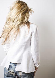 white blazer - ripped jeans