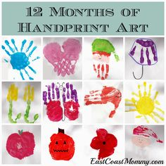 12 months of handprint art... that can be turned into a keepsake calendar.  ADORABLE!