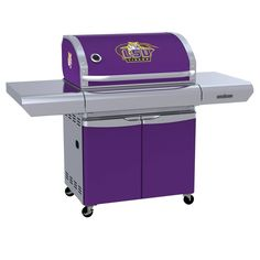 LSU - Louisiana State University Tigers - first-ever high-end gas grill designed specifically for sports fans in team colors with logo