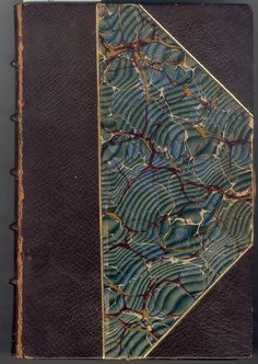 book cover, marbling paper, raised band spine