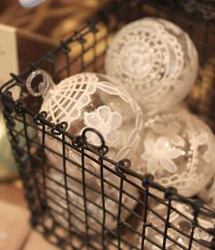 Painted Faux-Lace Ornaments