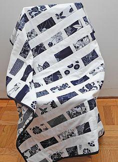 indigo and white Japanese yukata fabric lap quilt. $60.00, via Etsy.
