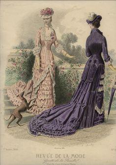 Love the purple stripes and the long tail. Revue de la Mode 1880