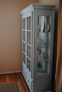black cabinet transformed to robin's egg blue with one step chalk paint