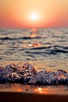 Perfect sunset beach waves #summer #beach