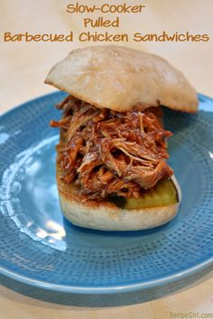 Slow-Cooker Pulled Barbecued Chicken Sandwiches. Made this last night. Was really delicious. Next time I will add some red pepper flakes to increase the heat. Sweet 'n' spicy goodness!  -tkz
