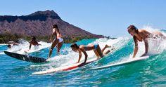 Diamond Head (Leahi) as a backdrop for surfers!