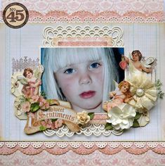 A beautiful Sweet Sentiments layout by Karen! Love love her fussy cutting and the beautiful composition #graphic45 #layouts
