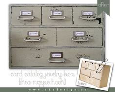 card catalog jewelry box with title