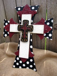 Polka dot and Red Hand Painted Wooden Cross by PoshReCreations, $34.00
