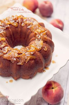 Ginger-Peach Pound Cake with Caramelized Peaches