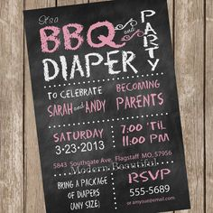 Chalkboard Couples BBQ and diaper Baby Shower Invitation, chalkboard, pink, diaper invitation, couple baby shower, printable, digital file