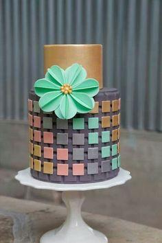 Gray and gold Modern wedding cake with colorful geometric squares #mwri #wedding #cake