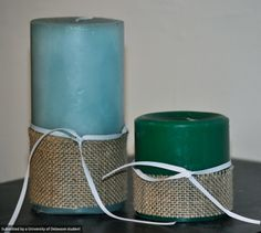 Dressing up candles is easy with a little burlap, hot glue and ribbon. #UDIY