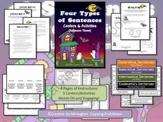 """Language Arts Halloween """"SPOOK""""-tacular Giveaway!! Enter for your chance to win 1 of 3.  Four Types of Sentences: Centers & Activities Kit Halloween Theme (23 pages) from Created by MrHughes on TeachersNotebook.com (Ends on on 10-20-2014)  Every teacher can use a small boost to their idea banks! After all, we need to keep our 'ghouls"""" and boys involved and learning, despite the excitement around this frightful holiday! WAHOO! I am giving away THREE of my wildly ..."""