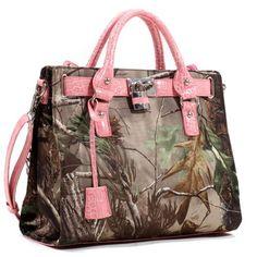 Realtree Pink Satchel, Womens APG Camo  Pink Faux Croc Purse Tote Handbag  Price : $59.99 http://www.camochique.com/Realtree-Pink-Satchel-Purse-Handbag/dp/B00E3OKX42