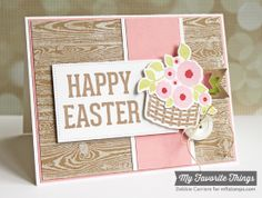 Easter Bunny, Wood Plank Background, Easter Bunny Die-namics, Fishtail Flags STAX Die-namics, Fishtail Flags Layers STAX Die-namics, Pierced Rectangle STAX Die-namics - Debbie Carriere #mftstamps