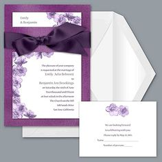Treasured Jewels Floral - Violet & Bright White Invitation